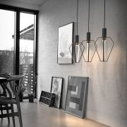 Spider, sculptural pendant with direct downlight + diffused roomlight Material: Diecast powdercoated alu Lightsource: LED Client: 2015 collection for Nordlux A/S